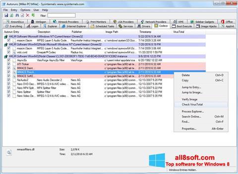 Screenshot AutoRuns Windows 8