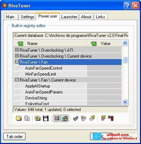 Screenshot RivaTuner Windows 8