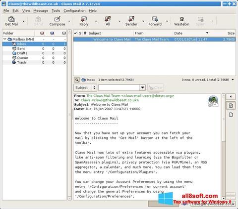 Screenshot Claws Mail Windows 8