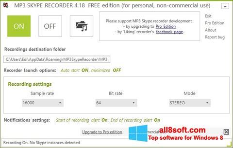 Screenshot MP3 Skype Recorder Windows 8