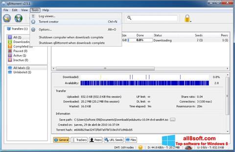 Screenshot qBittorrent Windows 8