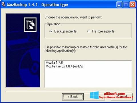 Screenshot MozBackup Windows 8