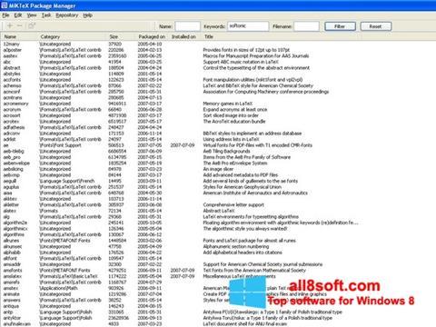 Screenshot MiKTeX Windows 8